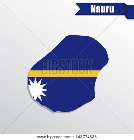 Nauru map with flag inside and ribbon