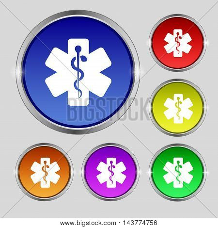 Medicine Icon Sign. Round Symbol On Bright Colourful Buttons. Vector
