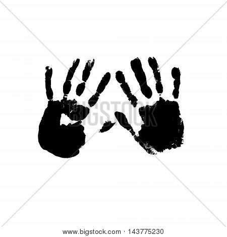 Two ink palm prints isolated on white background. Vector illustrtion