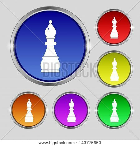 Chess Bishop Icon Sign. Round Symbol On Bright Colourful Buttons. Vector
