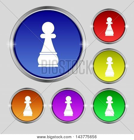 Chess Pawn Icon Sign. Round Symbol On Bright Colourful Buttons. Vector