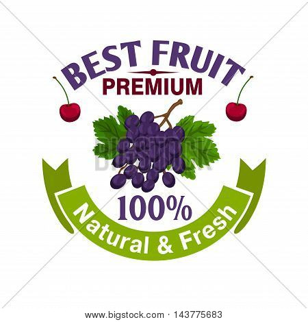Fruits label template. Natural and fresh berries grape and cherry icons for premium juice packaging, bottle, menu. Merchandise element for sticker, tag, poster, leaflet, flyer