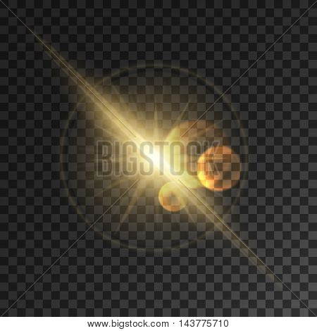 Glowing light flash. Space star burst explosion with lens flare effect. Sparkling vector sun rays and bright golden beams. Transparent background