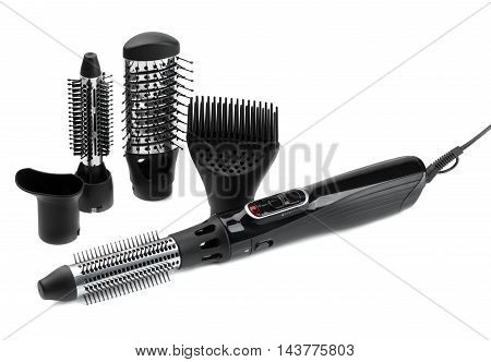 Hairdryer brush. Isolate on white background. equipment