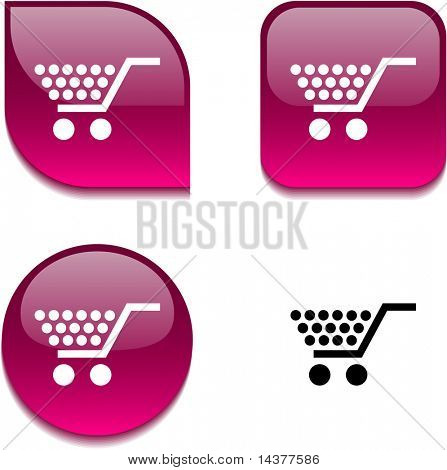 Shopping glossy vibrant web buttons.