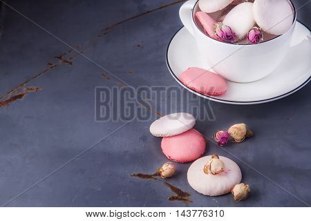 Traditional French Sweets. Pink, White Macaroon From The Dried B