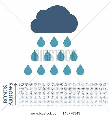 Rain Cloud icon with 1200 bonus arrow and direction pictograms. Vector illustration style is flat iconic bicolor symbols, cyan and blue colors, white background.