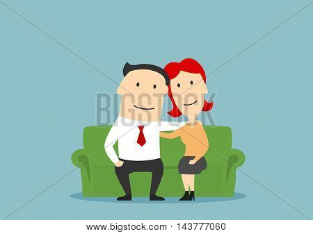 Family couple sitting on sofa. Husband and wife hugging. Happy parents vector characters. Love, care and tenderness concept. Adult man and woman romance and friendship