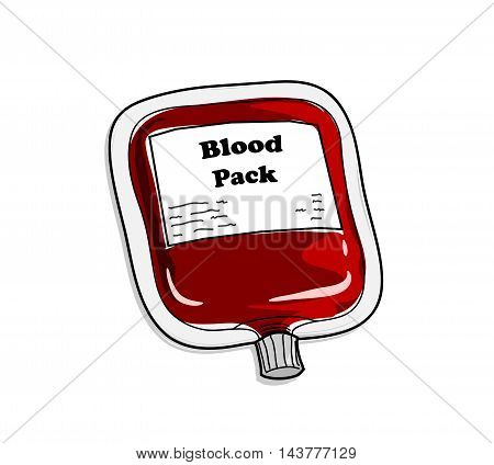 Blood Pack. A hand drawn vector illustration of a blood pack.