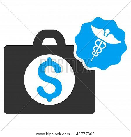Medical Business icon. Vector style is bicolor flat iconic symbol with rounded angles, blue and gray colors, white background.