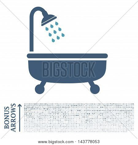 Shower Bath icon with 1200 bonus arrow and direction pictograms. Vector illustration style is flat iconic bicolor symbols, cyan and blue colors, white background.