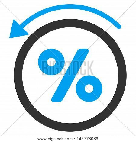 Rebate Percent icon. Vector style is bicolor flat iconic symbol with rounded angles, blue and gray colors, white background.
