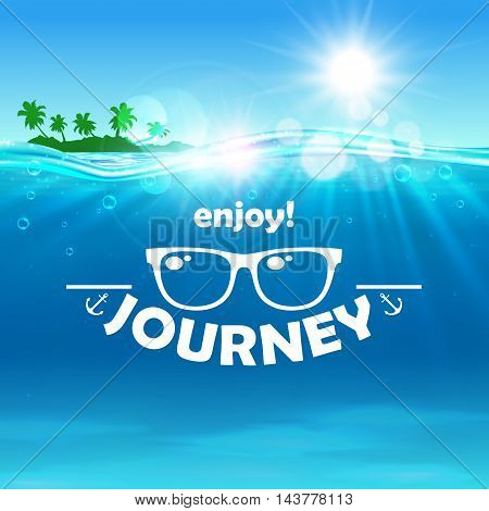Summer journey poster. Ocean, shining sun, tropical palm, island, water waves background. Travel placard with sunglasses icon for banner, advertisment, agency, flyer, greeting card hotel resort