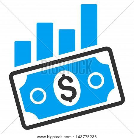 Sales Bar Chart icon. Vector style is bicolor flat iconic symbol with rounded angles, blue and gray colors, white background.