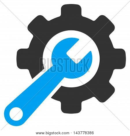 Tools icon. Vector style is bicolor flat iconic symbol with rounded angles, blue and gray colors, white background.