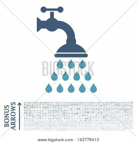 Shower Tap icon with 1200 bonus arrow and navigation pictograms. Vector illustration style is flat iconic bicolor symbols, cyan and blue colors, white background.