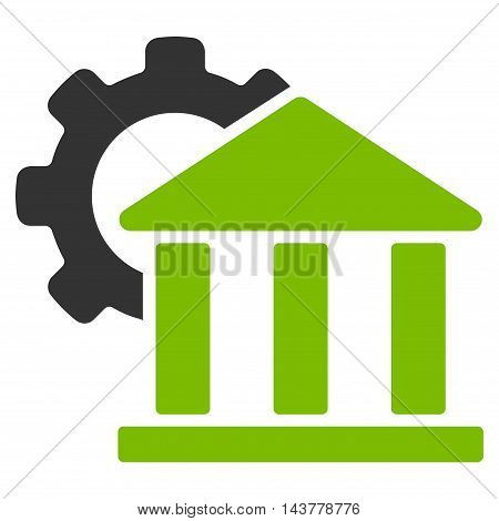 Bank Settings icon. Vector style is bicolor flat iconic symbol with rounded angles, eco green and gray colors, white background.