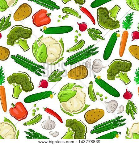 Vegetables seamless background. Vegetarian wallpaper with pattern vector icons of fresh farm carrot, asparagus, cucumber, potato, broccoli, radish, cauliflower, pea, garlic pepper