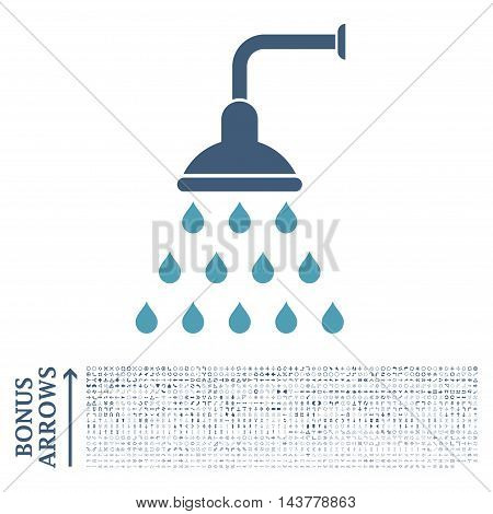 Shower icon with 1200 bonus arrow and direction pictograms. Vector illustration style is flat iconic bicolor symbols, cyan and blue colors, white background.