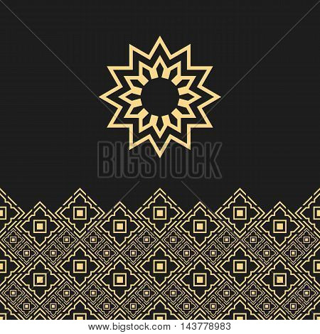 Background with oriental ornament and concept of islamic sun. Eastern card with logo.