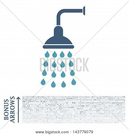 Shower icon with 1200 bonus arrow and navigation pictograms. Vector illustration style is flat iconic bicolor symbols, cyan and blue colors, white background.