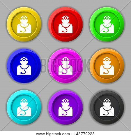 Doctor With Stethoscope Around His Neck Icon Sign. Symbol On Nine Round Colourful Buttons. Vector