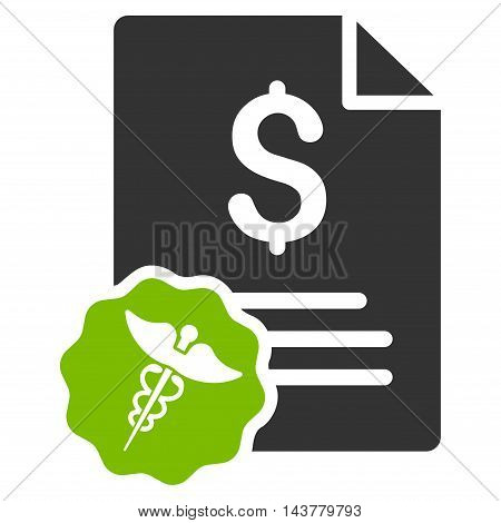Medical Invoice icon. Vector style is bicolor flat iconic symbol with rounded angles, eco green and gray colors, white background.