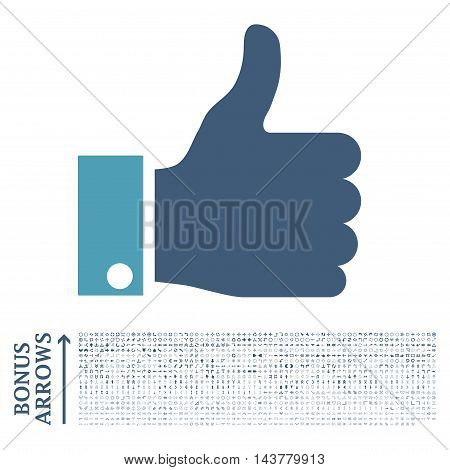 Thumb Up icon with 1200 bonus arrow and direction pictograms. Vector illustration style is flat iconic bicolor symbols, cyan and blue colors, white background.