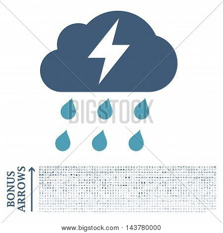 Thunderstorm icon with 1200 bonus arrow and direction pictograms. Vector illustration style is flat iconic bicolor symbols, cyan and blue colors, white background.