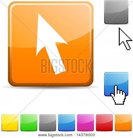 Cursor glossy vibrant web icon.