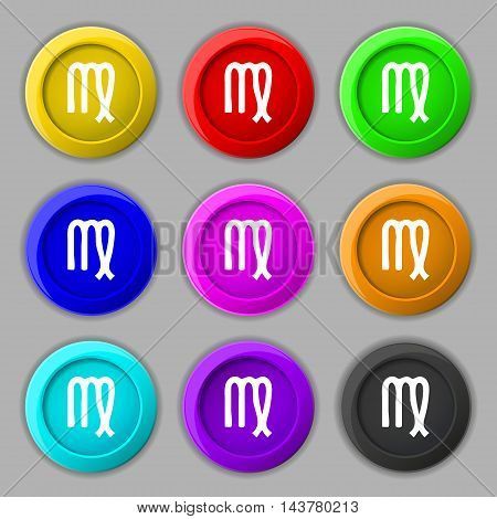 Virgo Icon Sign. Symbol On Nine Round Colourful Buttons. Vector