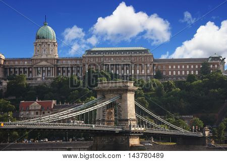 Buda Castle and Chain Bridge in Budapest,capitol of  Hungary