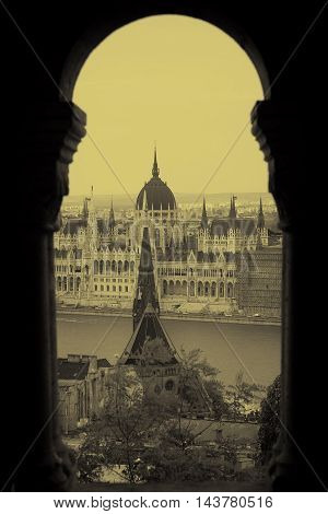 View on parliament building from fisherman bastion on Buda hill in Budapest, Hungary-Monochromatic