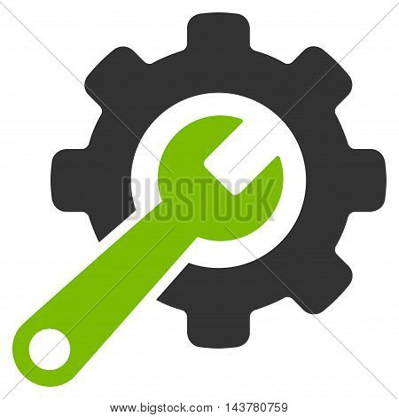 Tools icon. Vector style is bicolor flat iconic symbol with rounded angles, eco green and gray colors, white background.