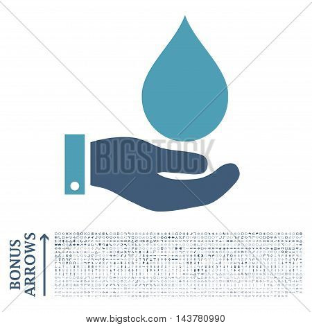 Water Service icon with 1200 bonus arrow and direction pictograms. Vector illustration style is flat iconic bicolor symbols, cyan and blue colors, white background.