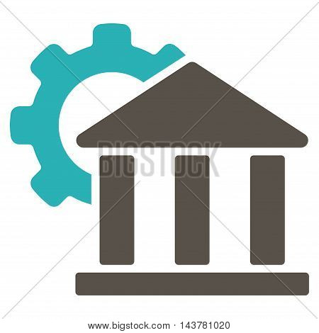 Bank Settings icon. Vector style is bicolor flat iconic symbol with rounded angles, grey and cyan colors, white background.