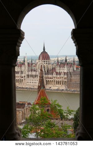 View on parliament building from fisherman bastion on Buda hill in Budapest, Hungary