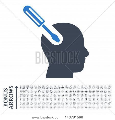 Brain Tool icon with 1200 bonus arrow and direction pictograms. Vector illustration style is flat iconic bicolor symbols, smooth blue colors, white background.