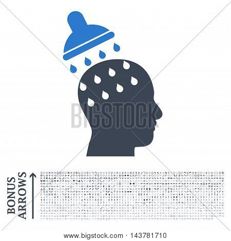 Brain Washing icon with 1200 bonus arrow and navigation pictograms. Vector illustration style is flat iconic bicolor symbols, smooth blue colors, white background.
