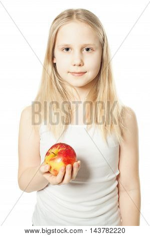 Girl and fruit. Teen with red apple