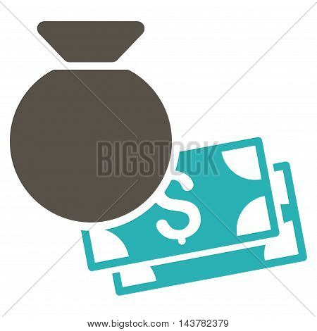 Money Bag icon. Vector style is bicolor flat iconic symbol with rounded angles, grey and cyan colors, white background.