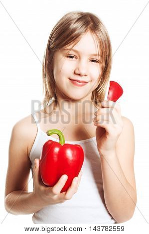 Girl and vegetable. Teen with red pepper
