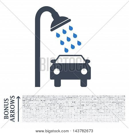 Car Shower icon with 1200 bonus arrow and direction pictograms. Vector illustration style is flat iconic bicolor symbols, smooth blue colors, white background.