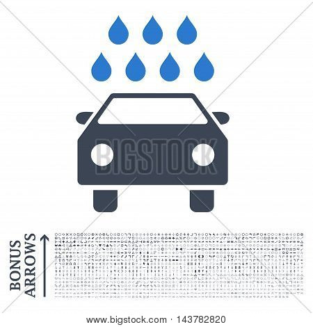 Car Shower icon with 1200 bonus arrow and navigation pictograms. Vector illustration style is flat iconic bicolor symbols, smooth blue colors, white background.
