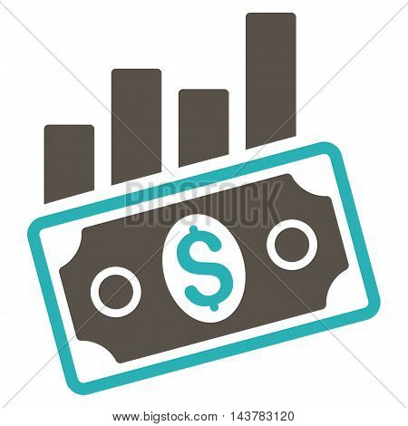 Sales Bar Chart icon. Vector style is bicolor flat iconic symbol with rounded angles, grey and cyan colors, white background.