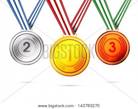 Glossy Gold, Silver and Bronze Medals with Ribbon showing First, Second and Third Place in Sport Competition.