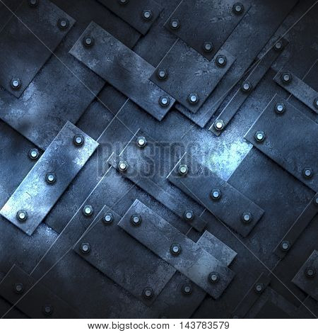 blue rusty fix wall. grunge metal background. 3d illustration.