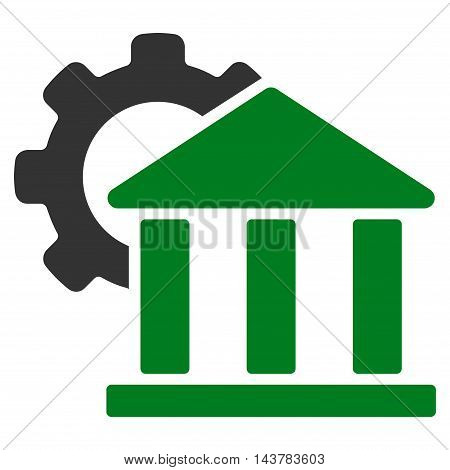 Bank Settings icon. Vector style is bicolor flat iconic symbol with rounded angles, green and gray colors, white background.