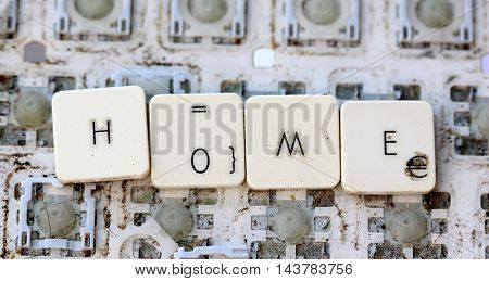 A close view of some keys on a dirty yellowed keyboard.text home