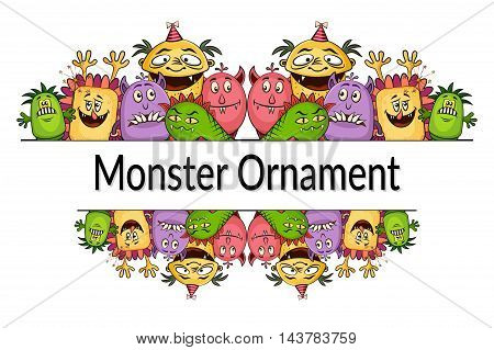 Ornament Background for Your Holiday Party Design with Different Cartoon Monsters, Colorful Illustration with Cute Funny Characters and Place for Your Text. Vector
